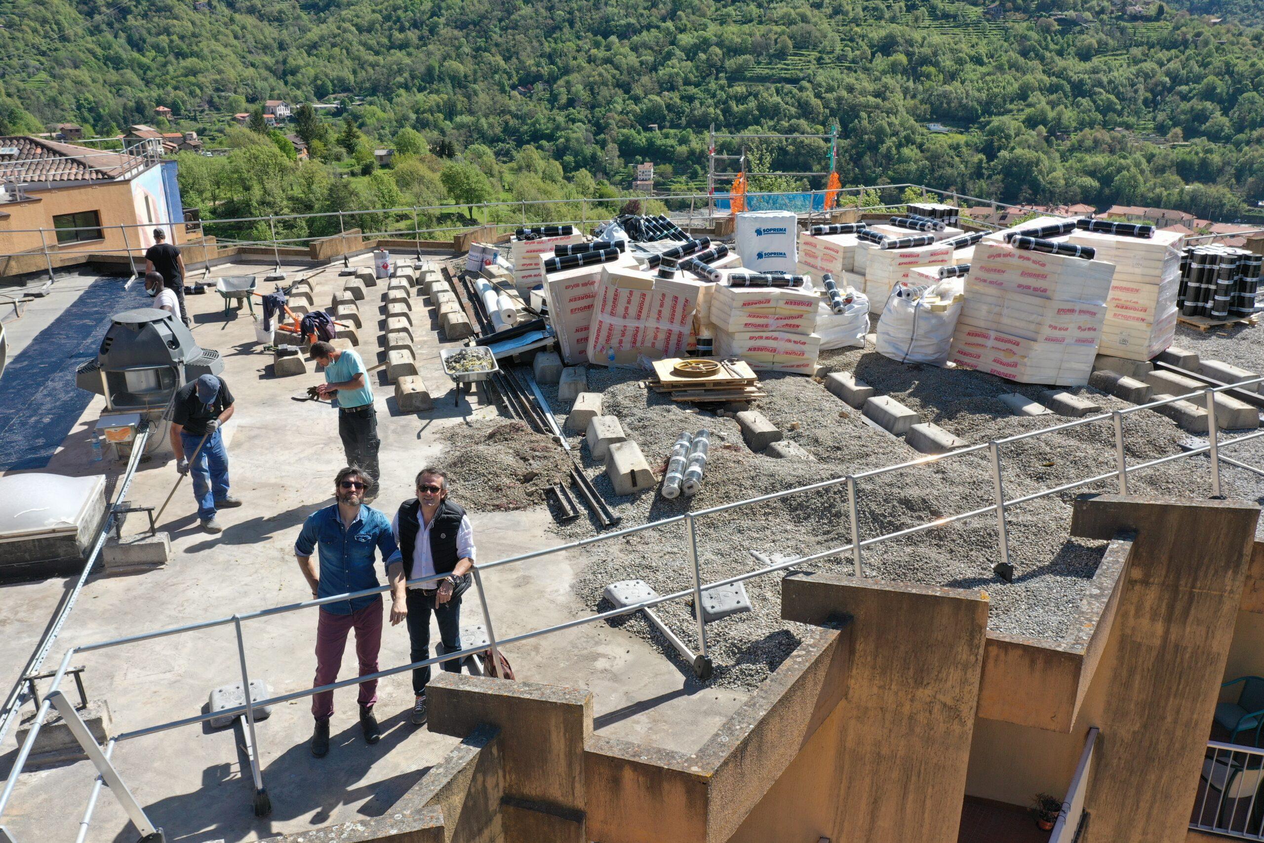 Avancées réfection complète étanchéités toitures d'un hôpital à Roquebillière